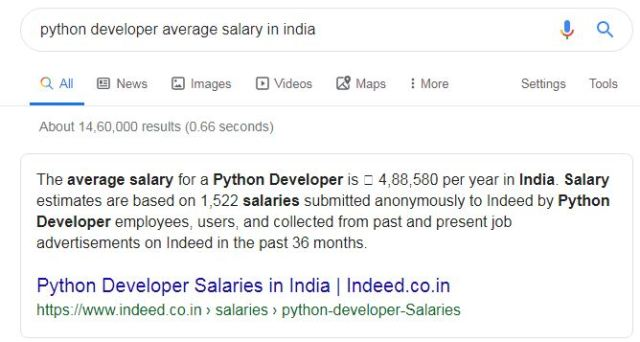 python developer average salary
