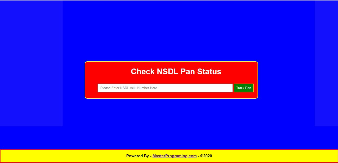 Pan Status Check Website