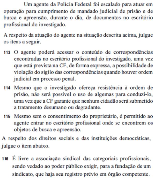 questoes de direito constitucional da prova de agente de policia federal de 2014