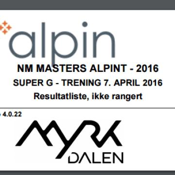NM Masters Alpint – Myrkdalen 7. april 2016 – SG trening