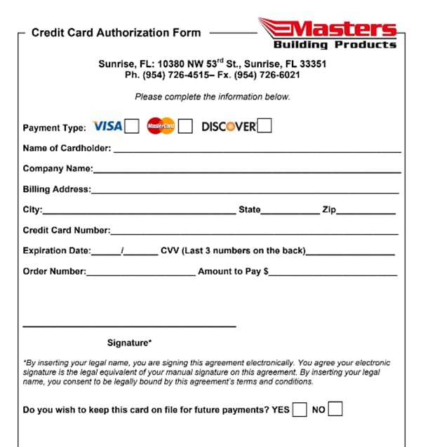 Credit Card Authorization Form Sunrise Screen Masters Building Products