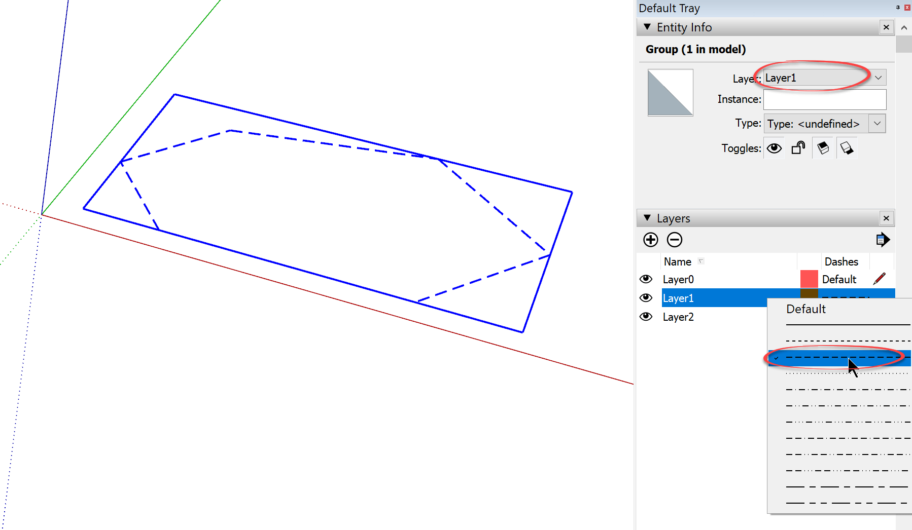 You Dont Want To Change The Dash Style Of Layer Because Then All Of The Edges In Your Model Will Be Overridden To Display That Dash