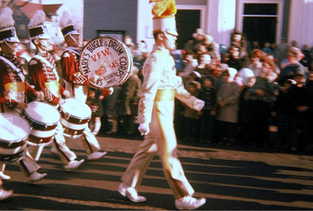 St. Mary's Cardinals marching by on Cabot Street in Beverly, MA 1959-60