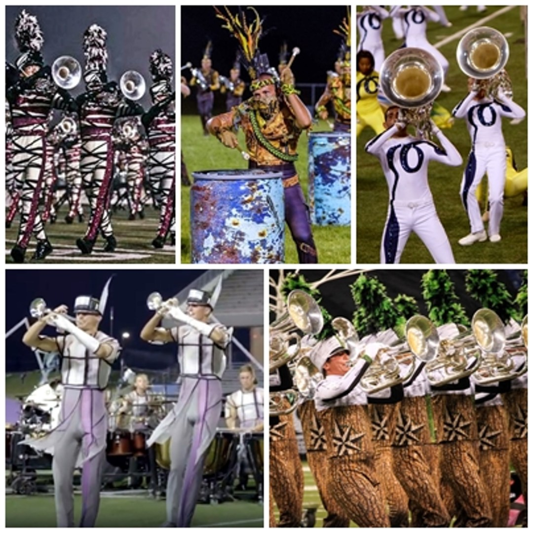 Collage of drum corps uniforms