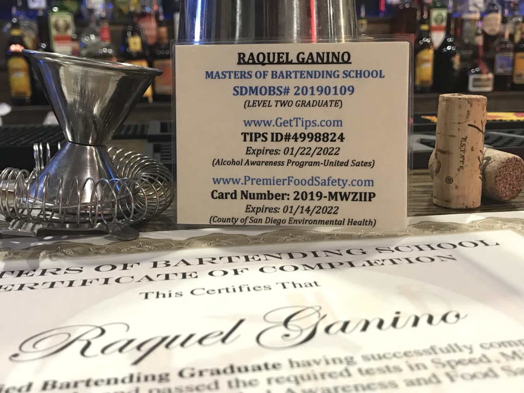laminated certification bartending certificate masters
