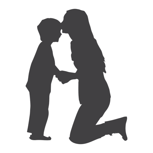 Silhouette of a mother and son. Mother is kneeling and kissing boy on forehead.