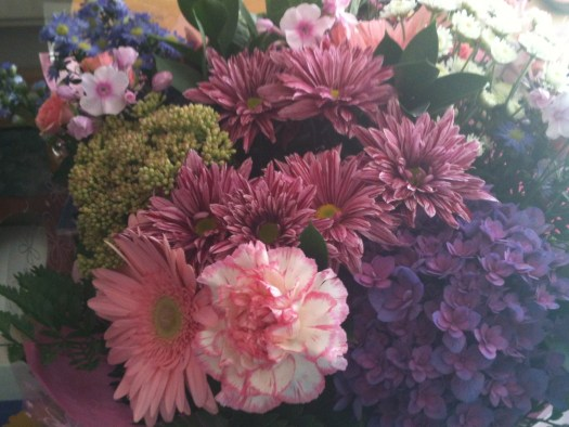 Flowers - mainly pink and violet