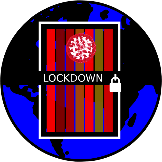 A globe with a door superimposed on it. There is a padlock on the door. A message reads lockdown.