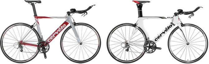 left: 2010 Cervelo P1, right: 2012 Cervelo P3