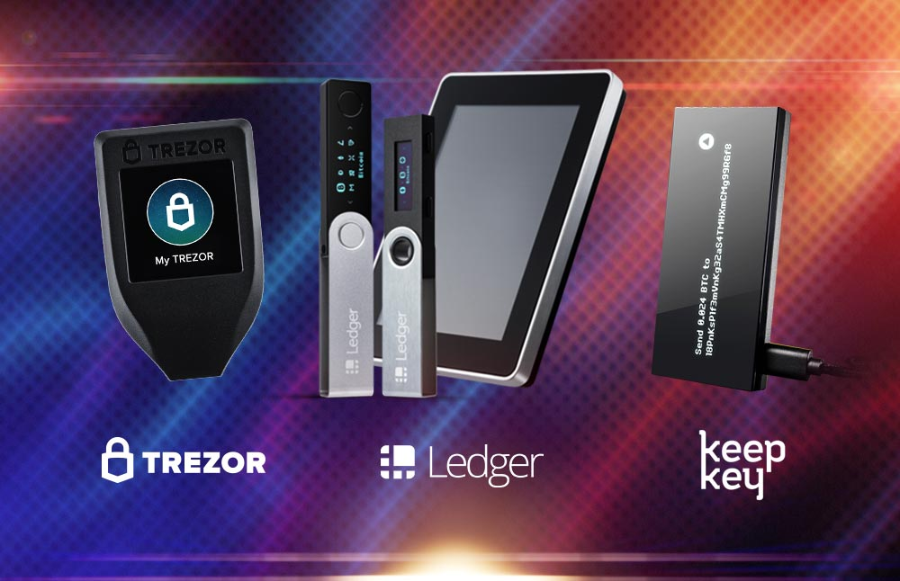 Trezor+Ledger+KeepKey comparison