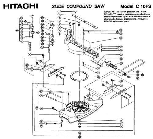 small resolution of hitachi c10fs sliding compound miter saw diagram hitachi c10fs a group parts