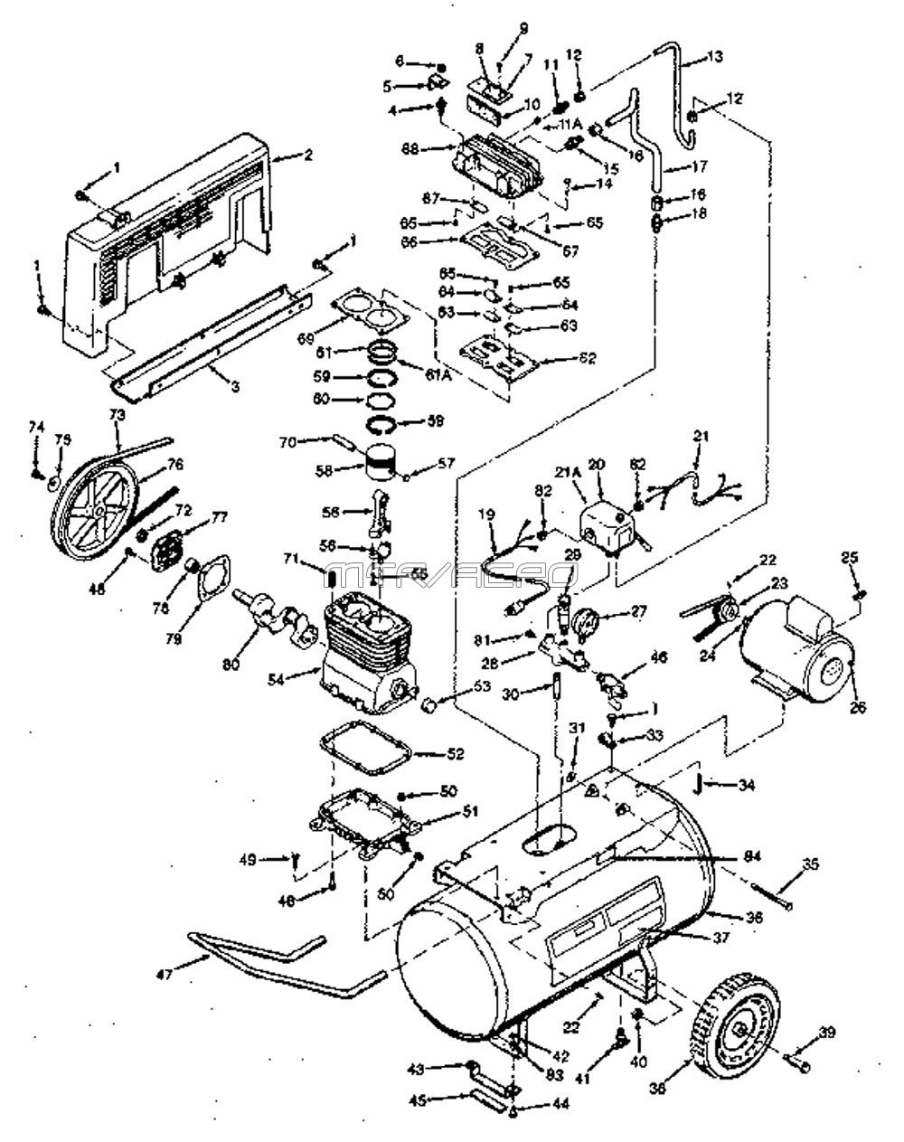 hight resolution of 919 177541 portable oil bath electric air compressor parts schematic