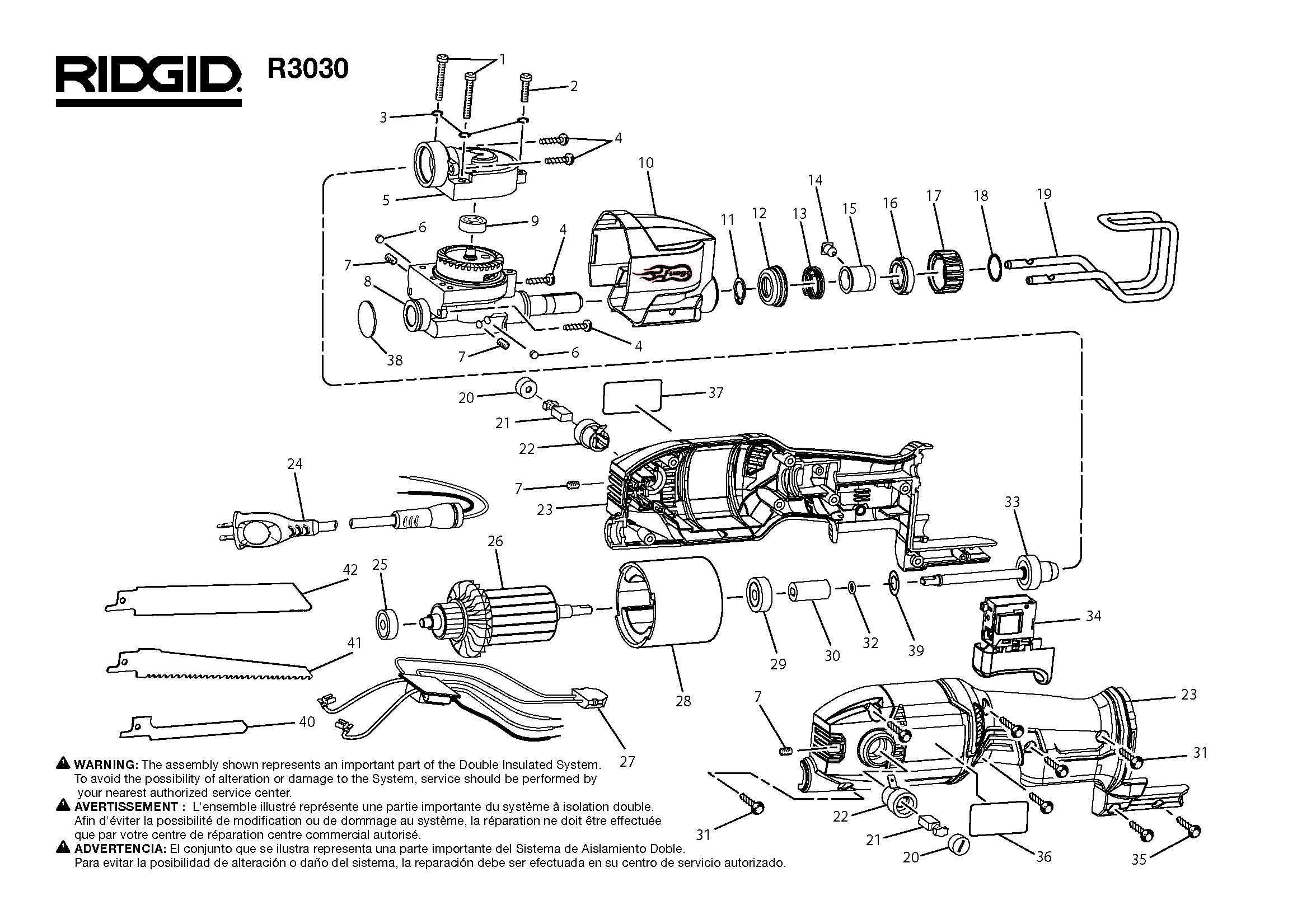 Ridgid R Reciprocating Saw Parts