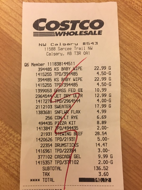 Costco West Fan Page Review Receipt