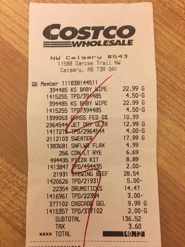 Costco West Fan Page Review Receipt