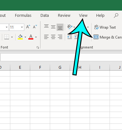 excel click the view tab
