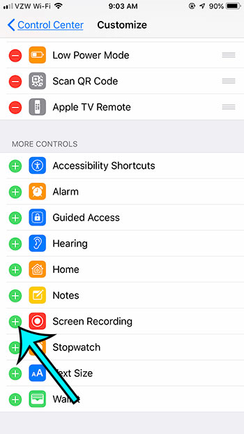 how to add or remove screen recording from iphone 7 control center