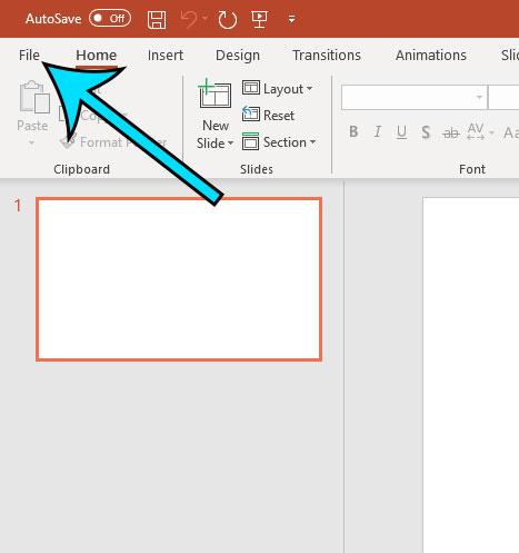 open the powerpoint file menu