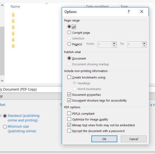 microsoft word pdf options