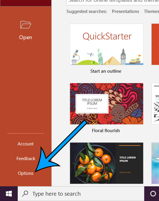 open Powerpoint options