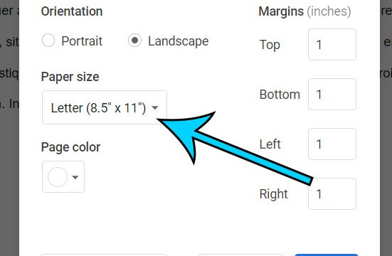 choose the Paper size option and select the size