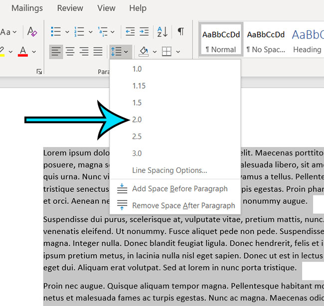 how to apply double spacing in Microsoft Word