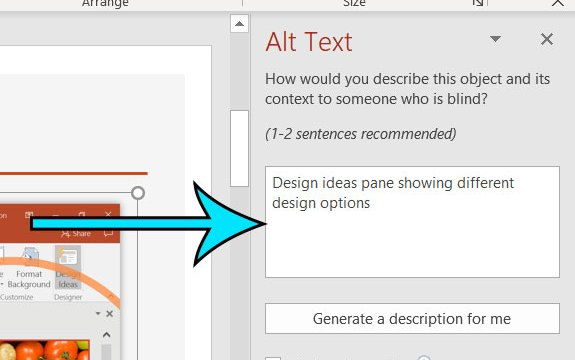 how to add alt text to a picture in Powerpoint