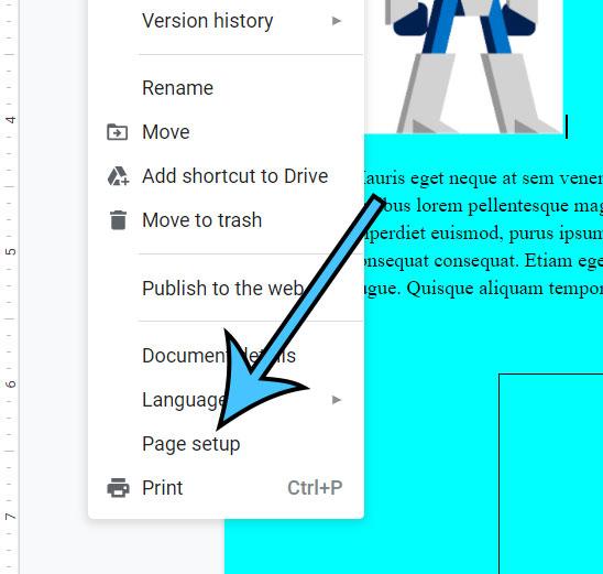 click Page setup
