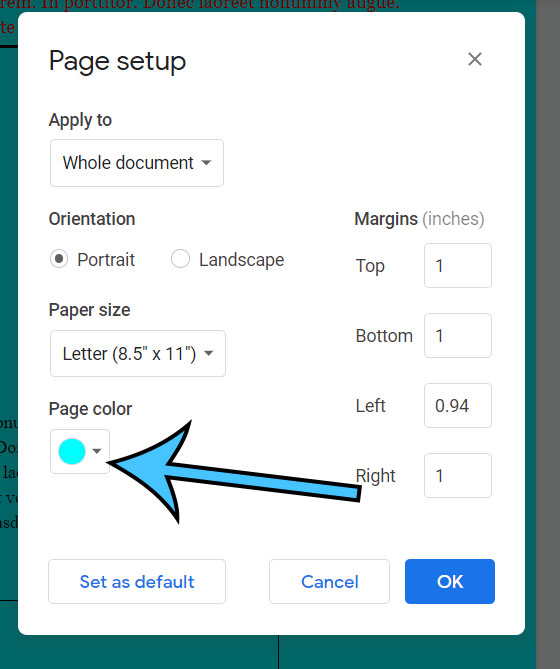 click the Page color button