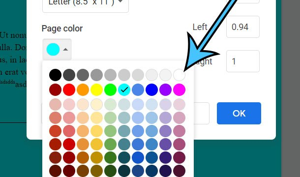 how to remove a page color in Google Docs
