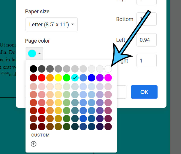 how to remove page color in Google Docs