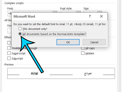 how to change the default font in Word for Office 365