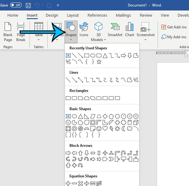 click Shapes, then choose a shape