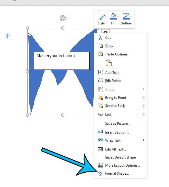 choose Format Shape from the right click menu
