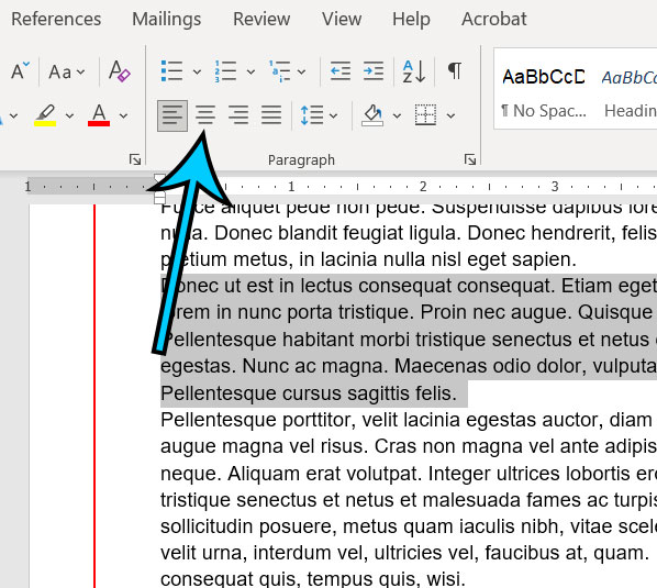 how to center text horizontally in Microsoft Word