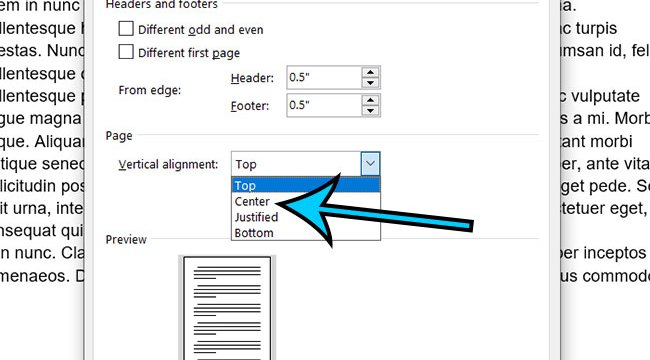 how to center text on the page in Microsoft Word