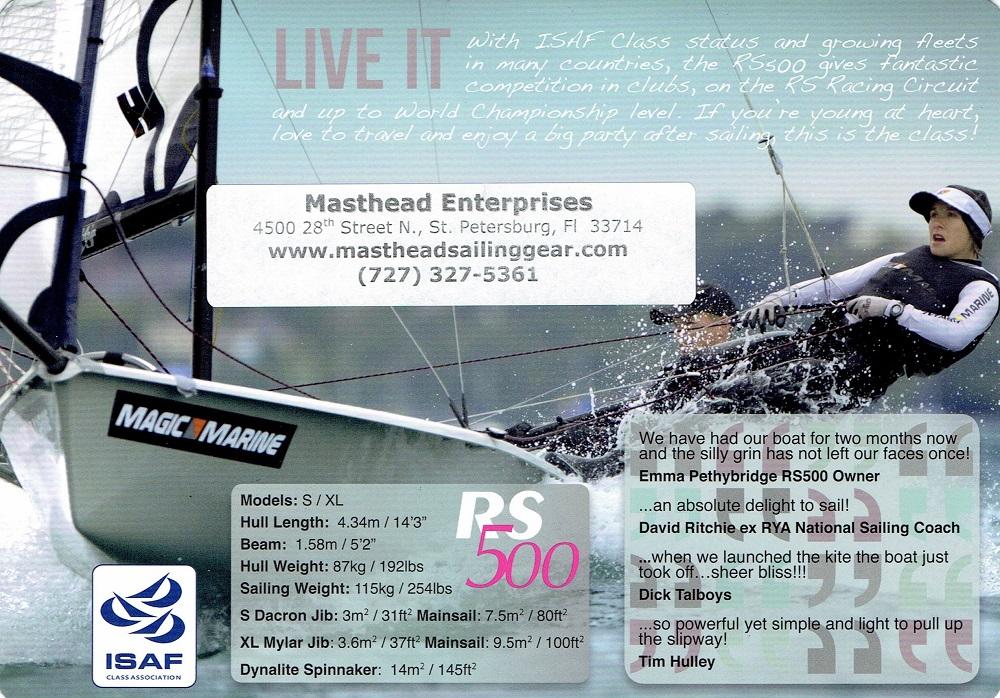 RS 500 XL sailboat for sale 2017 | Masthead Sailing Gear