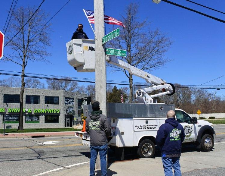 American flag installation on Montauk Hwy - 10