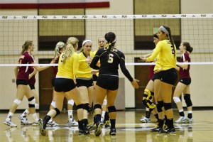 PLU celebrates after winning a point against Concordia-Moorhead. Picture by Thomas Soerenes.