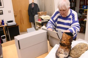 University Archivist, Kerstin Ringdahl, searches for Bjug Harstad's journal, Three Weeks in a Tent. There are several boxes in the university archives with texts written by Harstad, or about him.