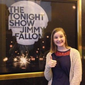 Mast Media's News @ Nine Producer, Allie Reynolds, before seeing Jimmy Fallon's monologue rehearsal in New York City.