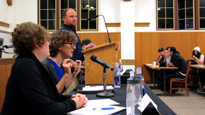 Angie Tinker debates with partner Brenden Stanton at the Meat Debate. Photo Credit: Elise Anderson