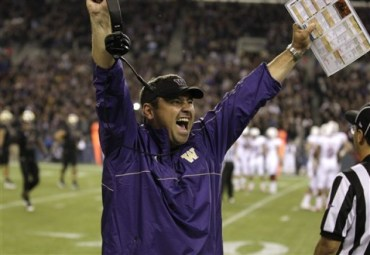 Photo Courtesy of Ted S. Warren, AP: Sarkisian celebrating a victory over 8th ranked Stanford in 2012