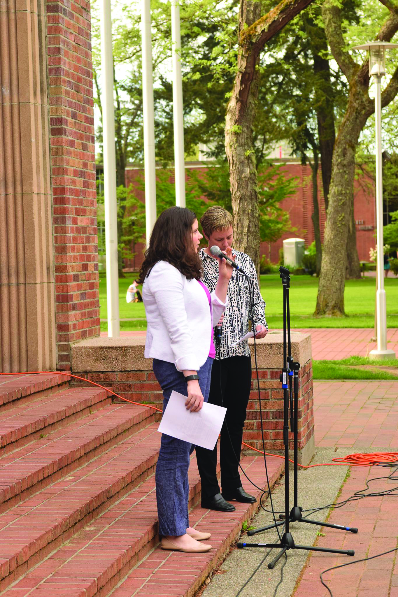 Melissa Williams (left) and Jennifer Childres (right) shared stories as they emceed the event.