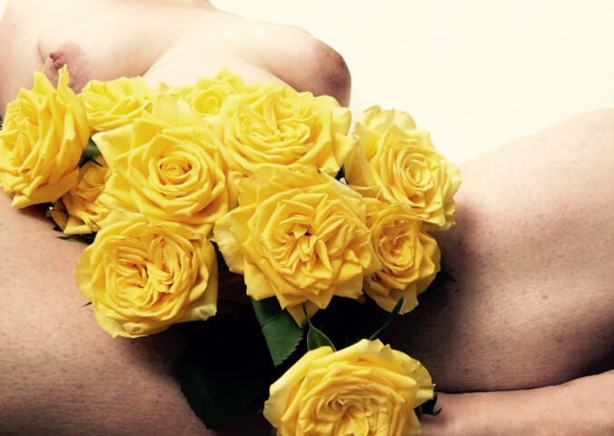 yellow roses and naked woman for Masturbation Monday Week 157