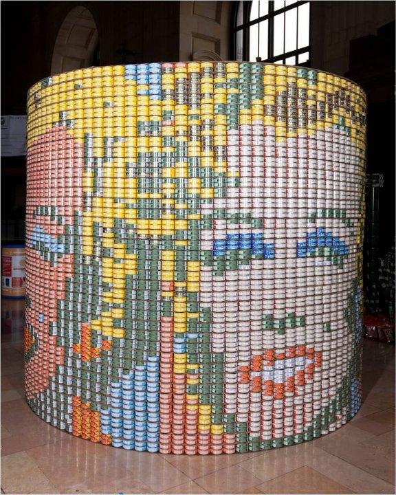 Canned Food Sculptures Raise Hunger Awareness