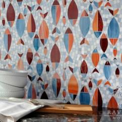 Natural Stone Backsplash Kitchen Black Trash Bags Floating Fish Mosaic   New Ravenna