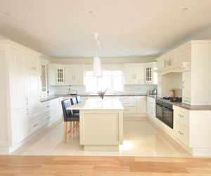 Ivory Kitchen with Lime Green Island by Woodale