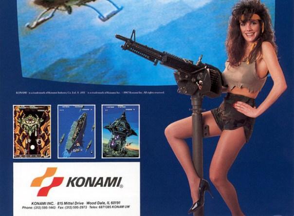 1987, anuncio de Konami para el juego Ajax. Esto debería atraer a hombres y mujeres a los arcades por igual, ¿no? fuente