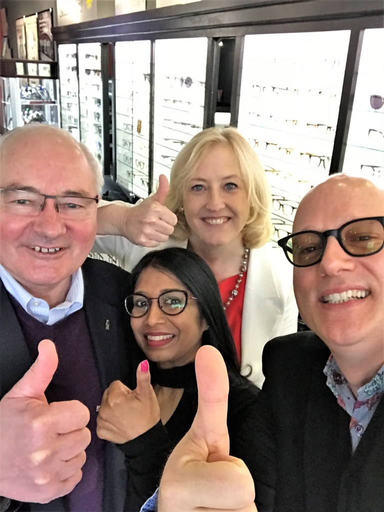The Political Blind Date selfie pic mentioned on the show. Lisa Raitt and Wayne Easter with us giving the Mayor Krantz thumbs up.